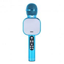 Q009 Ασύρματο bluetooth μικρόφωνο με ενσωματωμένο ηχείο, karaoke και disco light led Μπλε