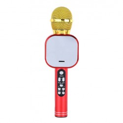 Q009 Ασύρματο bluetooth μικρόφωνο με ενσωματωμένο ηχείο, karaoke και disco light led Κόκκινο