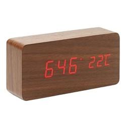 Ψηφιακό ξύλινο LED επιτραπέζιο ρολόι-ξυπνητήρι - Φυσικό ξύλο