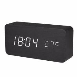 Ψηφιακό ξύλινο LED επιτραπέζιο ρολόι-ξυπνητήρι - Μαύρο ξύλο