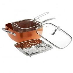 Αντικολλητικό τετράγωνο βαθύ τηγάνι 24cm με καπάκι, σχάρα ατμού και καλάθι