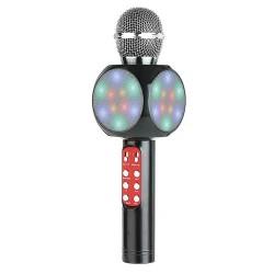 WS-1816 Ασύρματο bluetooth μικρόφωνο με ενσωματωμένο ηχείο, karaoke και disco light Μαύρο