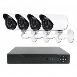 Πλήρες έγχρωμο σετ CCTV εποπτείας και καταγραφής με DVR 4 HD κάμερες τροφοδοτικό και καλωδιώσεις - 5004AHD
