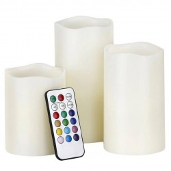 Διακοσμητικά LED RGB κεριά μπαταρίας με τηλεχειρισμό - Σετ 3 τμχ