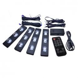 Σύστημα εσωτερικού φωτισμού αυτοκινήτου 4 USB LED RGB με χειριστήριο