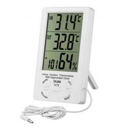Ψηφιακό ρολόι ξυπνητήρι με θερμόμετρο και υγρασιόμετρο εσωτερικού/εξωτερικού χώρου TA298