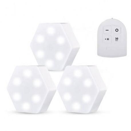 LED φώτα επιτοίχια εξάγωνα με τηλεκοντρόλ 3 τμχ