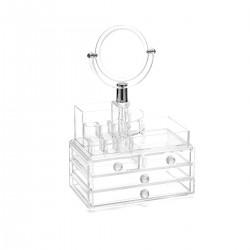 Ακρυλική βάση για την οργάνωση των καλλυντικών και κοσμημάτων με καθρέφτη