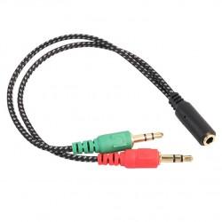 Αντάπτορας ήχου 2 σε 1 για ακουστικά 2x3.5mm 3 pin σε 3.5mm 4 pin FOYU