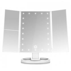 Περιστρεφόμενος τριπλός καθρέφτης μακιγιάζ με φωτισμό 22 Led και μεγέθυνση - Λευκό