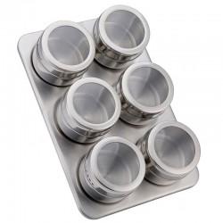 Ανοξείδωτο σετ 6 τεμαχίων με μαγνητικά βαζάκια για μπαχαρικά και βάση