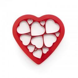 Πλαστικό κουπ πατ ζαχαροπλαστικής με 12 καρδούλες