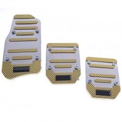 Αντιολισθητικά πεντάλ αυτοκινήτου - 3τμχ - ΗΤ 7003 - Χρυσό/Ασημί