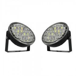Σετ 2 αδιάβροχοι στρογγυλοί προβολείς αυτοκινήτου 18 LED / 18w με ψυχρό φως