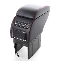 Κονσόλα χειροφρένου - universal τεμπέλης αυτοκινήτου με USB και 3 θύρες αναπτήρα - Μαύρο